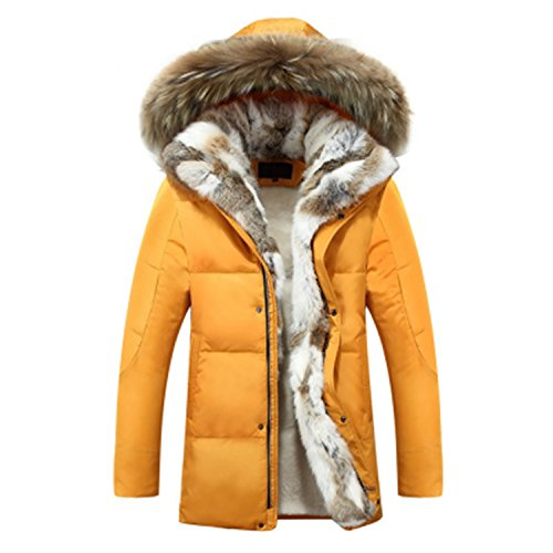 Also Easy Men's and Women's Leisure Down Jacket Thick Hood Detached Warm Waterproof Big Raccoon Fur Collar For -30 degrees Yellow L by Also Easy Outwear