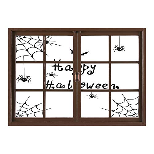 Spider Web Border Roll - SCOCICI Peel and Stick Fabric Illusion 3D Wall Decal Photo Sticker/Spider Web,Happy Halloween Celebration Monochrome Hand Drawn Style Creepy Doodle Artwork,Black White/Wall Sticker Mural