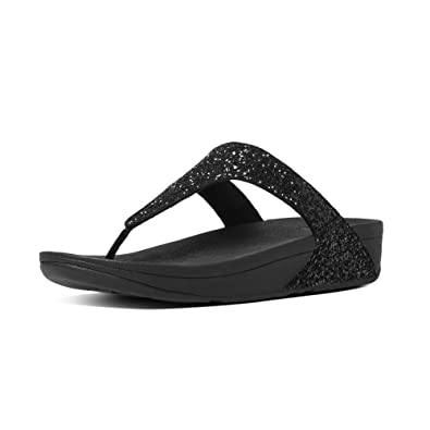 6f0e966dbe3fc0 FitFlop Women s Glitterball Microfibre Slip On Toe Post Sandal Black-Black-3