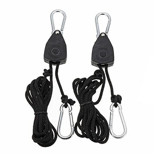 Reflector Hanger (2pcs 1/8 Inch Rope Ratchet Lifters Reflector Grow Hangers Zinc Alloy Hook Plastic Pulley 2m - Hardware & Accessories Industrial Hardware - 2 x Grow Light Hanger)