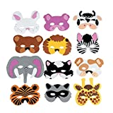 Fun Express -  Zoo Farm Party Costume (12 Assortment) Kids Foam Animal Face Masks (1-Pack of 12)