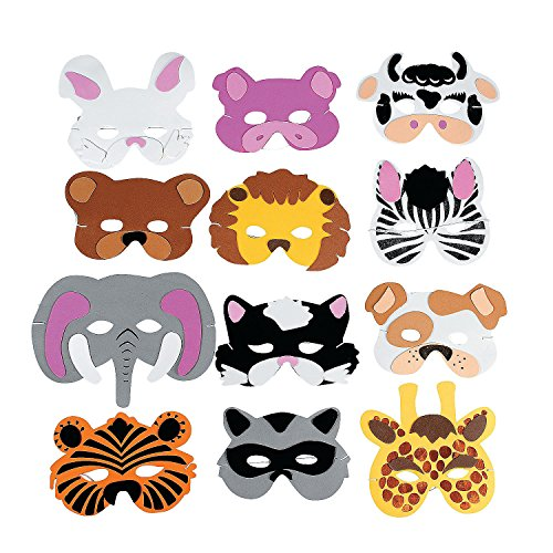 Fun Express -  Zoo Farm Party Costume (12 Assortment) Kids Foam Animal Face Masks (1-Pack of 12)]()