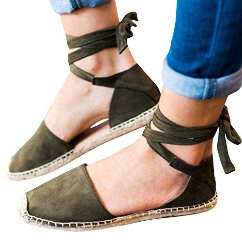 Pxmoda Women's Bandage Flip-Flop Sandal Flats Ankle Wrap Espadrille Flat Sandals (US 6.5, Army Green)