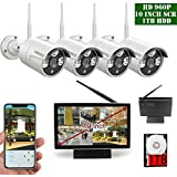 【2018 Update】10 inch Screen OOSSXX HD 1080P 4 Channel Wireless Security Camera System,4 pcs 960P 1.3 Megapixel Wireless Weatherproof Bullet IP Cameras,Plug and Play,70FT Night Vision,P2P,App, 1TB HDD