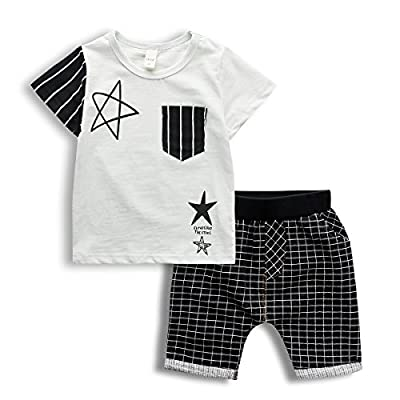2017 New Boys 2 PCS Outfit Set, Stylish Stars Print Top and Plaid Shorts