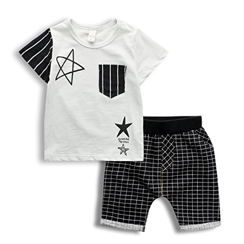 2017 New Boys 2 PCS Outfit Set, Stylish Stars Print Top and Plaid Shorts,White,5