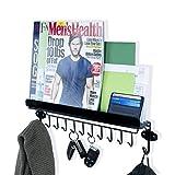 WALLNITURE Foyer Wall Mount Mail Key Newspaper Magazine Holder Coat Rack Entryway Organizer with 12 hooks Steel Shelf Ledge Black
