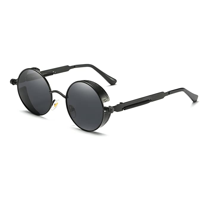 48c02fc70d Ronsou Steampunk Style Round Vintage Polarized Sunglasses Retro Eyewear  UV400 Protection Matel Frame black frame gray lens  Amazon.co.uk  Clothing
