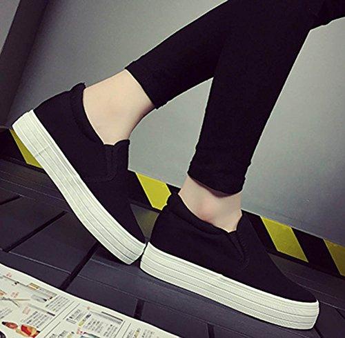 Aisun Womens Casual Round Toe Thick Sole Skateboard Hidden Wedge Platform Loafers Slip On Sneakers Shoes Black JKsHo