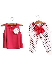 2 Pcs Toddler Baby Girls Flower Brocch Vest T-shirt Polka Dot Pants Outfits Sets(HP110)