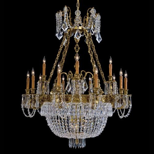 Metropolitan N9063 21 Light Large Foyer Chandelier in French Gold with Patina with Asfour Egyptian s crystal