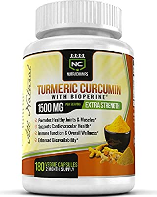 NutraChamps Turmeric Curcumin with BioPerine 1500mg - 180 Capsules 95% Curcuminoids Extra Strength Supplement for Pain Relief, Joint Support, & Cardiovascular Health - Highest Potency Available