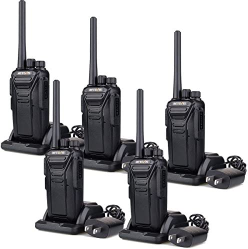 Retevis RT27 Walkie Talkies Rechargeable Long Range FRS Two Way Radio 22CH Encryption VOX 2 Way Radio Black,5 pack