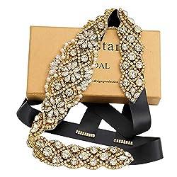 Gold Crystal Rhinestone Bridal Sashes