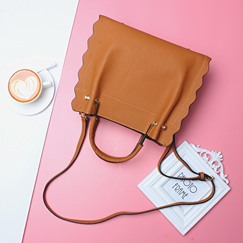Color : Brown, Size : M Shengjuanfeng 2018 New Ladies Handbag Leather Fashion Large Capacity Cowhide Tote Bag Shoulde