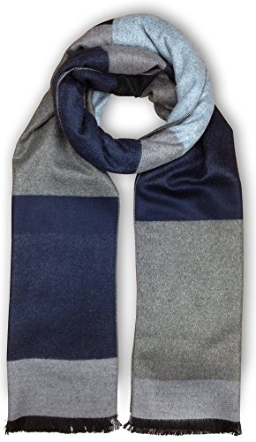 (Bleu Nero Luxurious Winter Scarf for Men and Women - Large Selection of Unique Design Scarves - Super Soft Premium Cashmere Feel Blue Black Grey Assorted Rectangle)