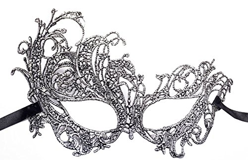 Lace Masquerade Ball Mask Venetian Swan Mardi Gras Halloween Costume Party Mask (A Sliver Black Swan)