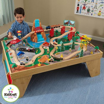 KidKraft Waterfall Station Train Set and Table With Side Storage ...