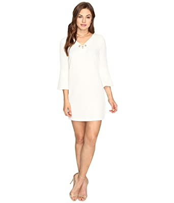 739c6150 kensie Textured Dot Bell Sleeve Dress at Amazon Women's Clothing store: