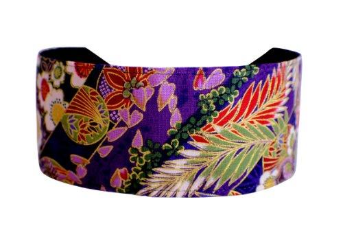 Purple Headwrap Kimono Inspiration Gold Outlined Cherry Blossom Soft - Blossom Soft