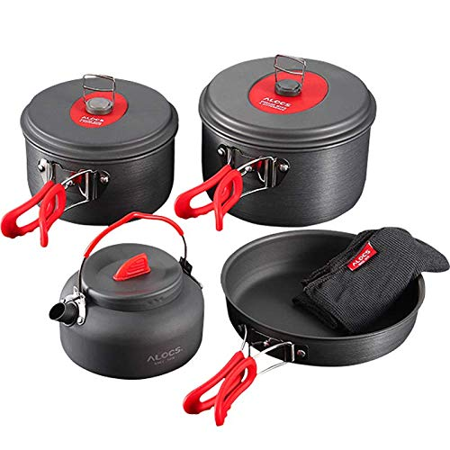Camping Cookware Set, Anodized Aluminum Camping Pots kettle and Pans, BPA-FREE Lightweight Durable Folding Mess Kit, Non-stick and Scratch-free for 3-4 Persons Family Outdoor Camping Hiking Fishing