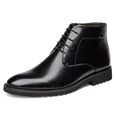 Mens Retro Leather Oxford Boots Lace Up Brogue Casual Moccasins Shoes for Men Dress Ankle Boots