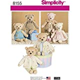 easy bear - Simplicity Pattern 8155 Stuffed Bears with Clothes, One Size