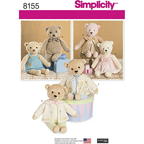 Simplicity Pattern 8155 Stuffed Bears with Clothes, One Size Teddy Bear Pattern