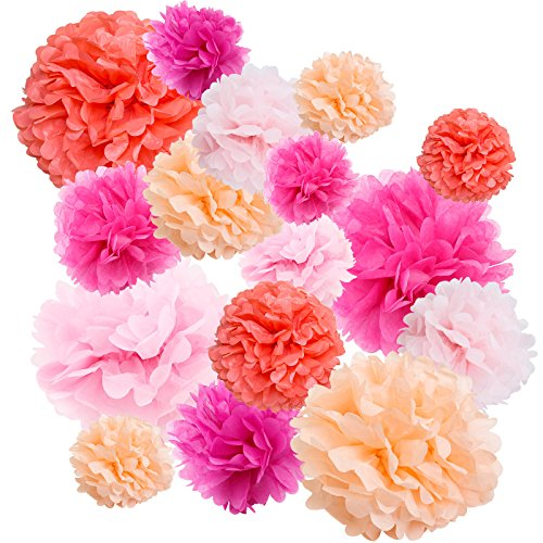 Floral Reef Variety Set of 16 (Assorted Pink Color Pack) consisting of 8 10 14 Tissue Paper Pom Poms Flower