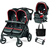 Peg Perego - Book for Two Synergy Black Red Silver Double Stroller Travel System with Diaper Bag