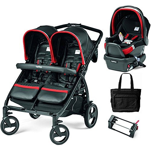 Peg Perego - Book for Two Synergy Black Red Silver Double Stroller Travel System with Diaper Bag by Peg Perego