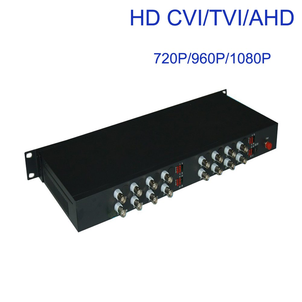 Guantai HD 1080P 16 Channels Video Fiber Optical Media Converters (Transmitter and Receiver) for HD CCTV 1080P 960p 720p CVI TVI AHD Cameras, FC ,Long Working Distance 10Km