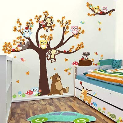 Assyrian 2017 Huge Jungle Animals Tree Owls Monkey Wall Sticker Kids Room Decor Vinyl Decals - Wall Stickers ()