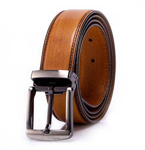 YoMeiJun Mens Belt Handmade Vegetable Tanned Leather Belt Adjustable