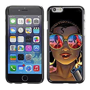 Planetar® ( Cool Chick Gangster Gun Shades Tattoo ) Apple iPhone 6 Plus(5.5 inches)Fundas Cover Cubre Hard Case Cover