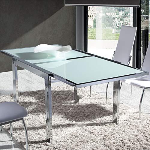 M-034 Mesa de Comedor en Cristal Blanco Metal Cromado Florine 180 ...