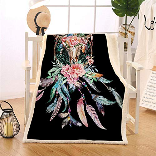 Cow Skull Decorative Throw Blanket Dreamcatcher Feathers Roses Native American Fleece Thin Quilt Sherpa Bed Blanket Black 130cmx150cm