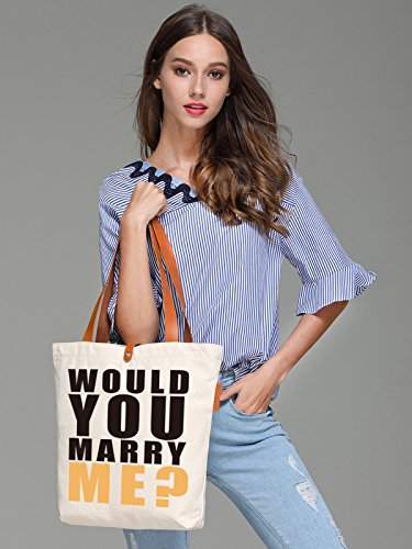 So'each Women's Would You Merry Me? Top Handle Canvas Tote Shoulder Bag