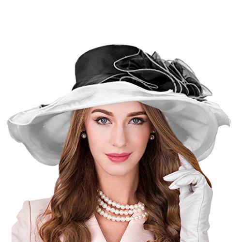 VBIGER Kentucky Derby Hats Church Hat Organza Tea Party Wedding Hat (Z-Black/Grey) by VBIGER