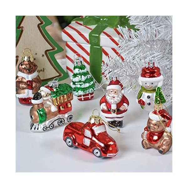 Valery Madelyn Palle di Natale Vetro Addobbi Natalizi Set, 9 Pezzi 5-7cm Classic Collection Red Green And White Palline di Natale Decoration for Addobbi Natalizi per Albero 5 spesavip