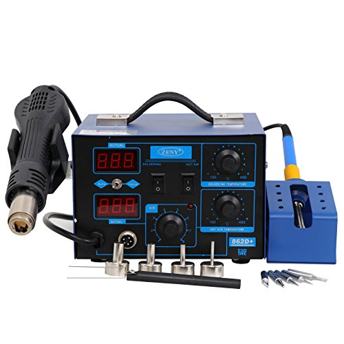 Zeny 2In1 Smd Hot Air Rework Soldering Iron Station 862D  Repair Tools 4 Nozzles As Free Gifts