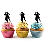 TA0547 Couple Partner Dance Silhouette Party Wedding Birthday Acrylic Cupcake Toppers Decor 10 pcs