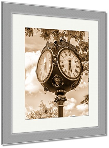 Ashley Framed Prints Old Clock In Bucharest Downtown Against Blue Sky And Tree Leaves, Wall Art Home Decoration, Sepia, 40x34 (frame size), Silver Frame, AG5955859 - Silver Museum Dial