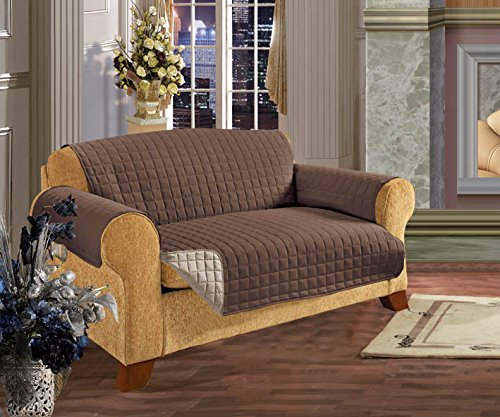 Elegant Comfort REVERSIBLE QUILTED Furniture Protector- Special Treatment Microfiber As soft as Egyptian Cotton, Chocolate Love Seat - Brown Microfiber Seat
