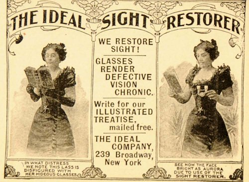 1899 Vintage Ad Quackery Sight Glasses Vision Eyesight - Original Print - Hideous Glasses
