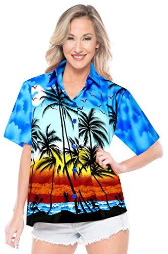 LA LEELA Likre Camp Aloha Beach Top Shirt Bright Blue 4 L - US 38 - 40D