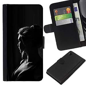 For Sony Xperia Z2 D6502 Case , Girl Woman Black White Portrait - la tarjeta de Crédito Slots PU Funda de cuero Monedero caso cubierta de piel