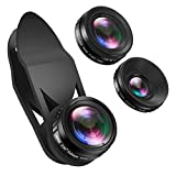 AMIR 3 in 1 HD Camera Lens Kit, Super Wide Angle Lens & 15X Macro Lens & Degree Fisheye Lens, Clip on Cell Phone Lens for iPhone 8, 7 Plus / 7 / 6s Plus / 6s/ Samsung and Smartphones 0.65X 230