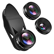 #LightningDeal 88% claimed: AMIR 3 in 1 HD Camera Lens Kit, 0.65X Super Wide Angle Lens & 15X Macro Lens & 230 Degree Fisheye Lens, Clip on Cell Phone Lens for iPhone 8, 7 Plus / 7 / 6s Plus / 6s/ Samsung and Smartphones