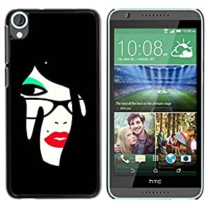 Paccase / SLIM PC / Aliminium Casa Carcasa Funda Case Cover para - Red Lips - HTC Desire 820
